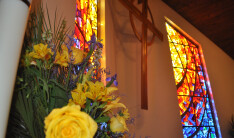 stained glass and flowers